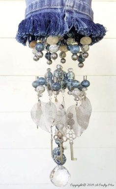 Upcycled Denim Wind Chime With Beads and Charms