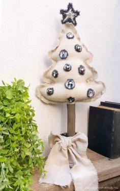 DIY Drop Cloth Christmas Tree With Gorjuss Baubles