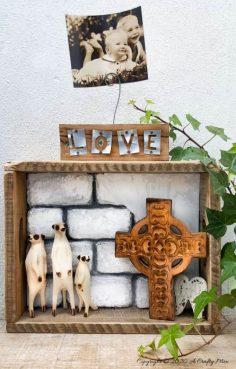 DIY a Unique Shadow Box with Faux Bricks