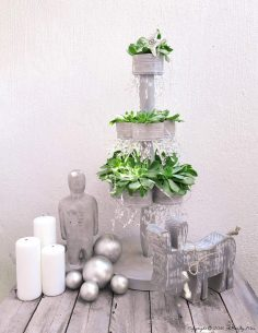 Recycle Those Tin Cans to Make a Succulent Christmas Tree