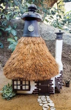 A Lamp Shade Recycle and How to Thatch a Fairy Roof