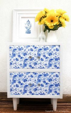 DIY Cabinet Makeover with Chinoiserie Vinyl Tiles