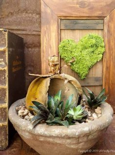 DIY Stained Concrete Pumpkin Planter
