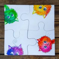 Curious Kitty Puzzle Coasters That Double Up as a Platter